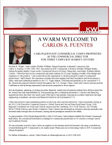 Welcome Carlos A. Fuentes to Keller Williams Realty
